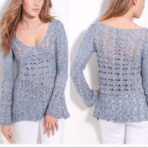 Free People Clockwork Crochet Sweater Storm Marl